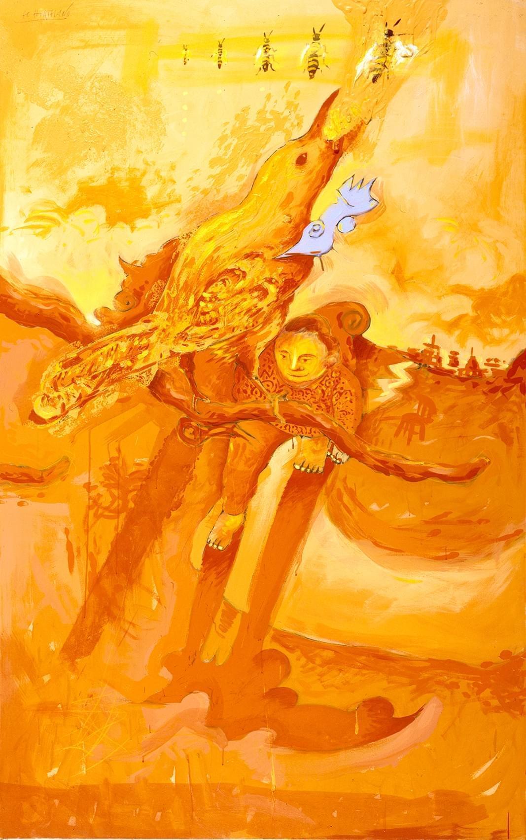04 El puro y agudo calor Técnica mixta sobre lienzo 210 x 130 cm 1987