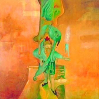 08-EH006. La escuela interior, los palacios y los chistes Óleo sobre lienzo 152 x 152 cm 1989