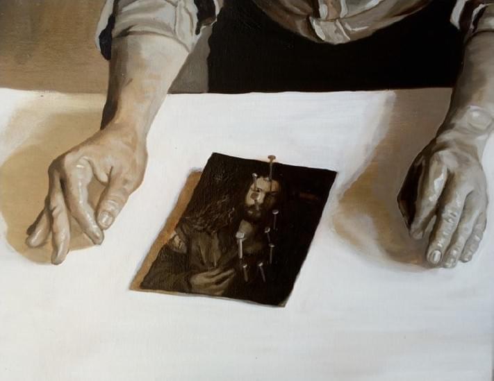 08-JR073. S JOHN ROBINSON Strategies against influences Óleo sobre lienzo 40 x 50 cm 2015