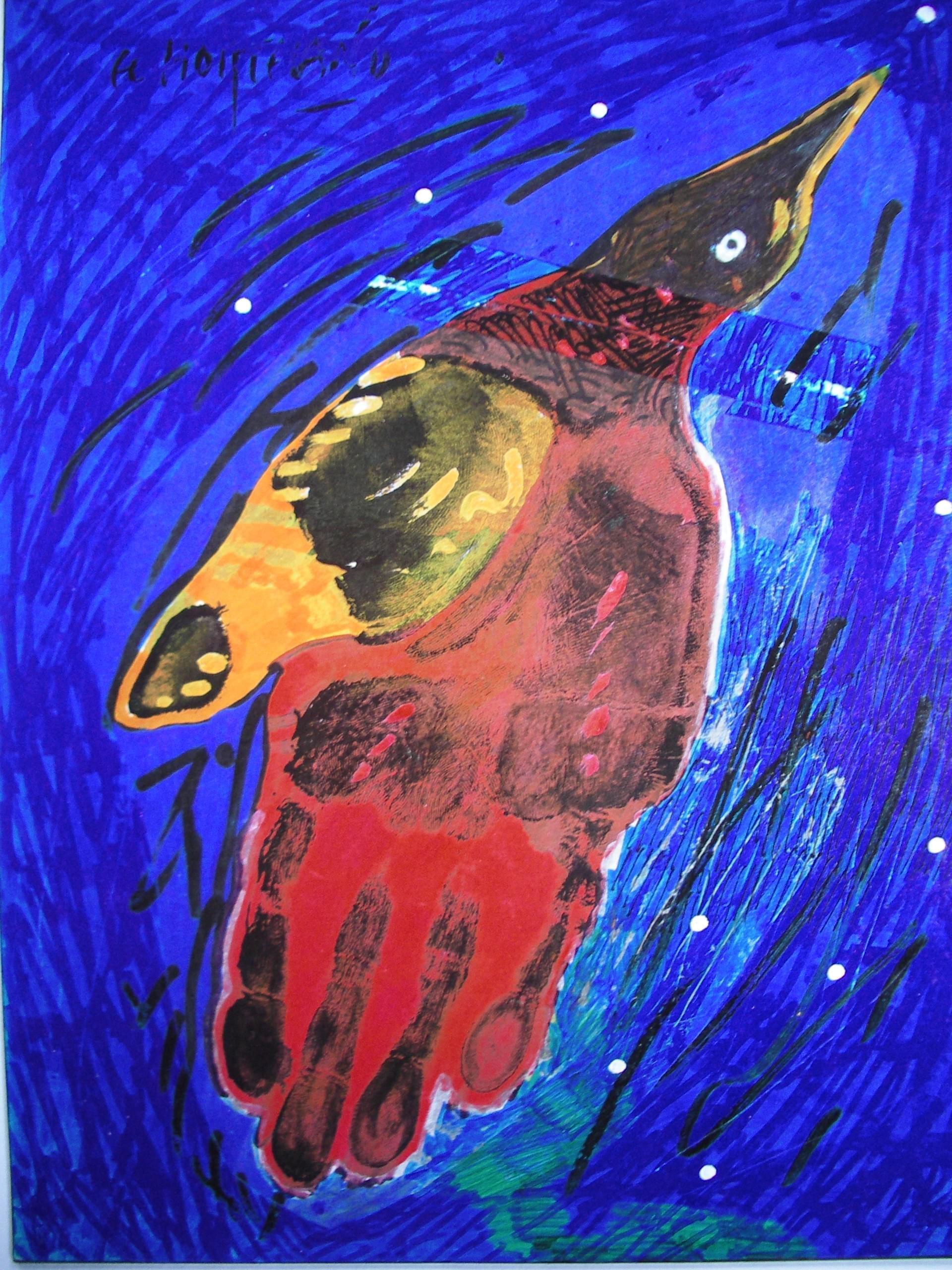 09-EH009 15-Vuelo nocturno (Mirlo) Óleo y técnica mixta sobre lienzo 28 x 22 cm 2002