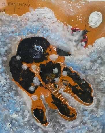 13-EH013 75-Madre luna Óleo y técnica mixta sobre lienzo 28 x 22 cm 2006