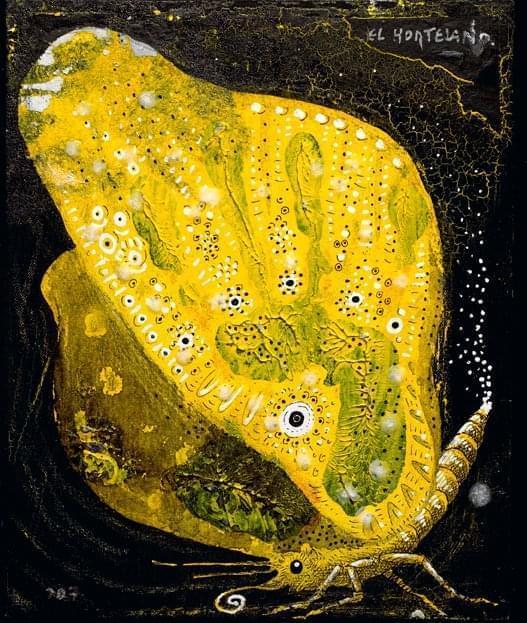 16-EH016 85-Pararge megaera Óleo y técnica mixta sobre lienzo 28 x 22 cm 2007