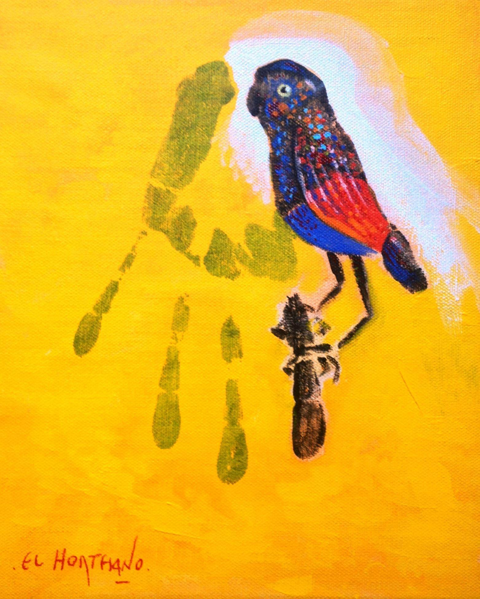17-EH017 102-El pájaro en mi rama Óleo y técnica mixta sobre lienzo 28 x 22 cm 2013