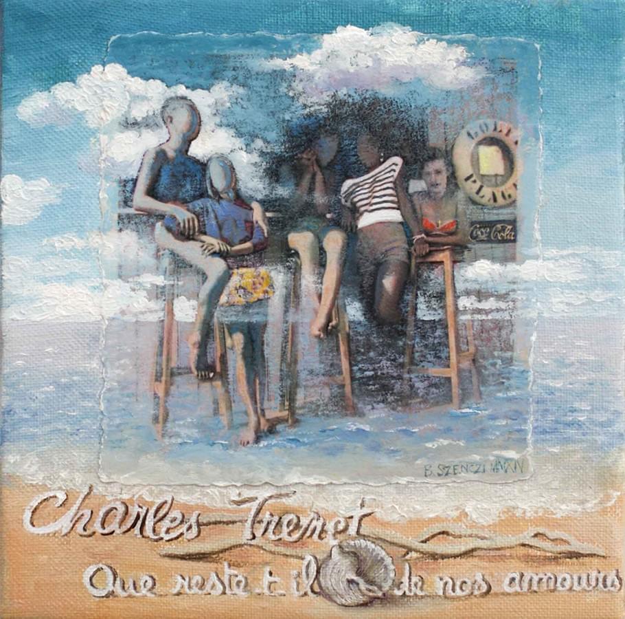 """BRIGITTE SZENCZI. """"Que reste-t-il de nous amours"""". Charles Trenet. Collage de papel sobre lienzo. 18 x 18 cm."""