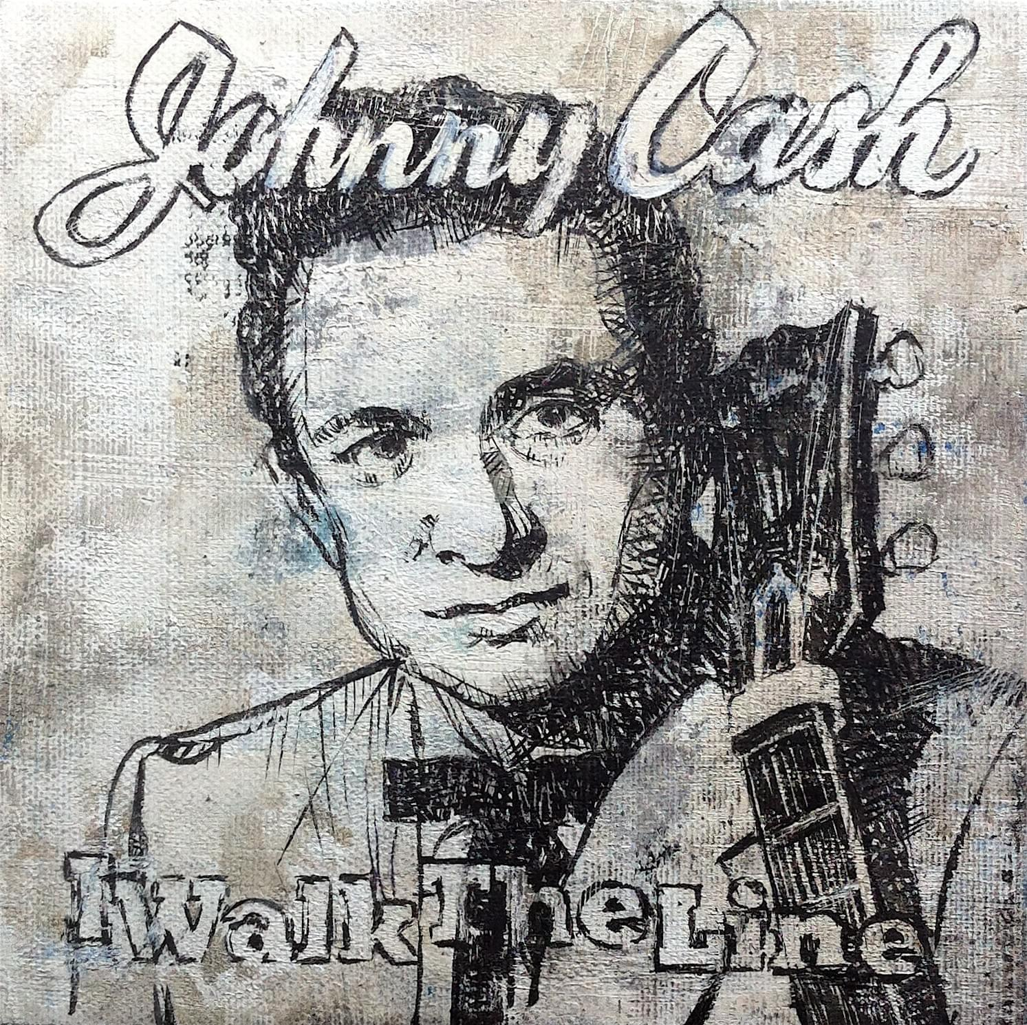 "CARLOS GARCÍA ALIX. ""I walk the Line"". Johnny Cash. Óleo sobre lienzo. 18 x 18 cm. 2015."
