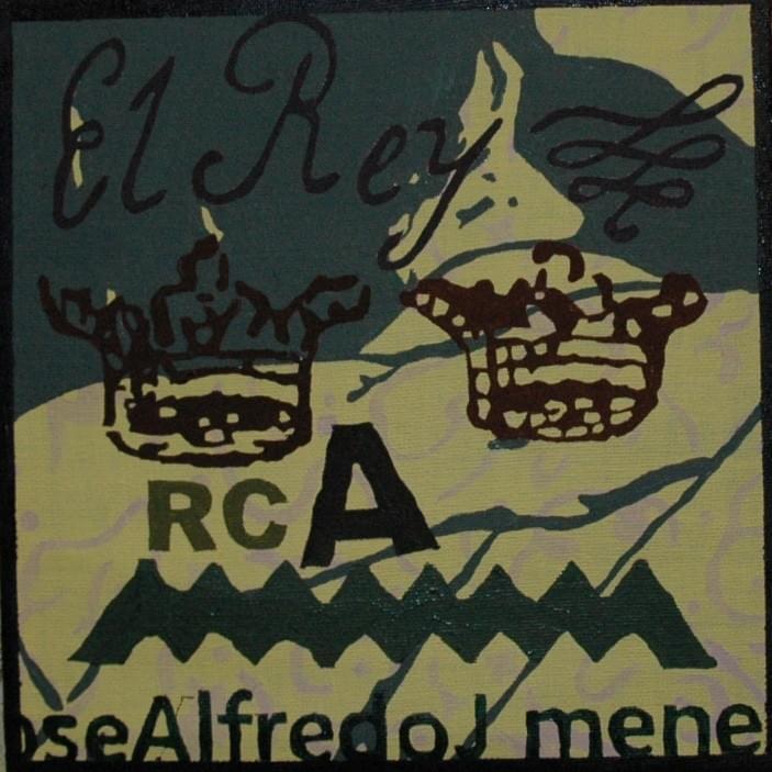 "CARLOS VIDAL. ""El Rey"". José Alfredo Jiménez. Óleo sobre lienzo. 18 x 18 cm. 2015."