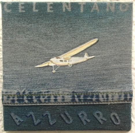 "DAMIÁN FLORES. ""Azzurro"" Adriano Celentano. Técnica mixta sobre tela vaquera. 18 x 18 cm. 2015."