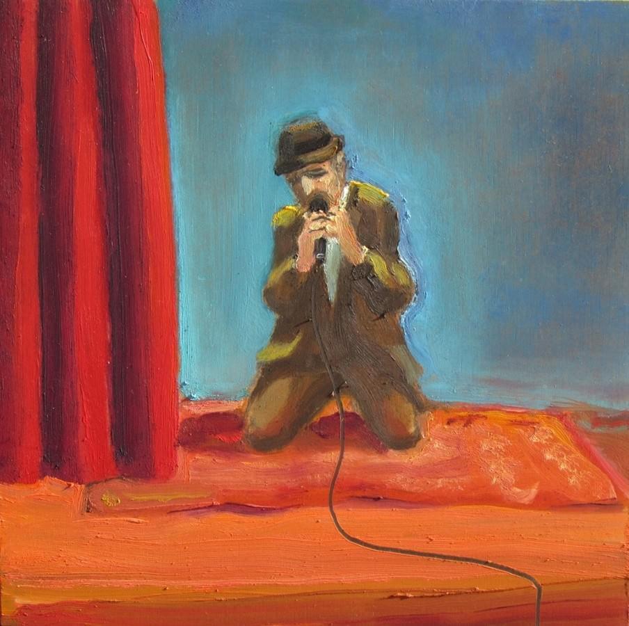 JOSÉ LUIS MAZARÍO. Leonard Cohen. Óleo sobre tabla. 20 x 20 cm. 2015. 700€.