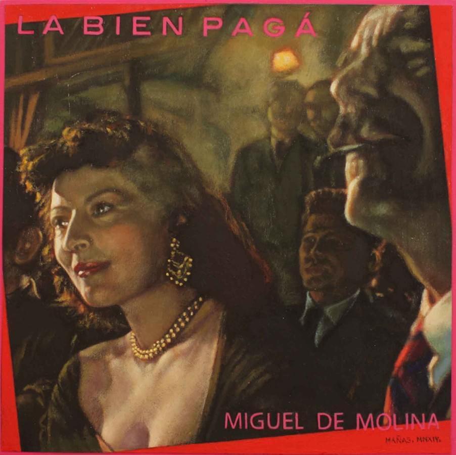 """JUAN ANTONIO MAÑAS. """"La Bien Pagá"""". Miguel de Molina. Óleo sobre papel. 18 x 18 cm."""