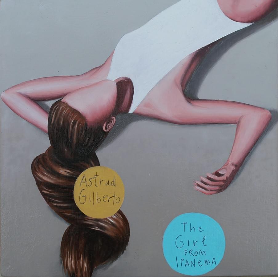 """JUAN CUÉLLAR. """"The Girl from Ipanema"""". Astrud Gilberto. Óleo y tinta sobre tabla. 18 x 18 cm. 2015. 500€"""