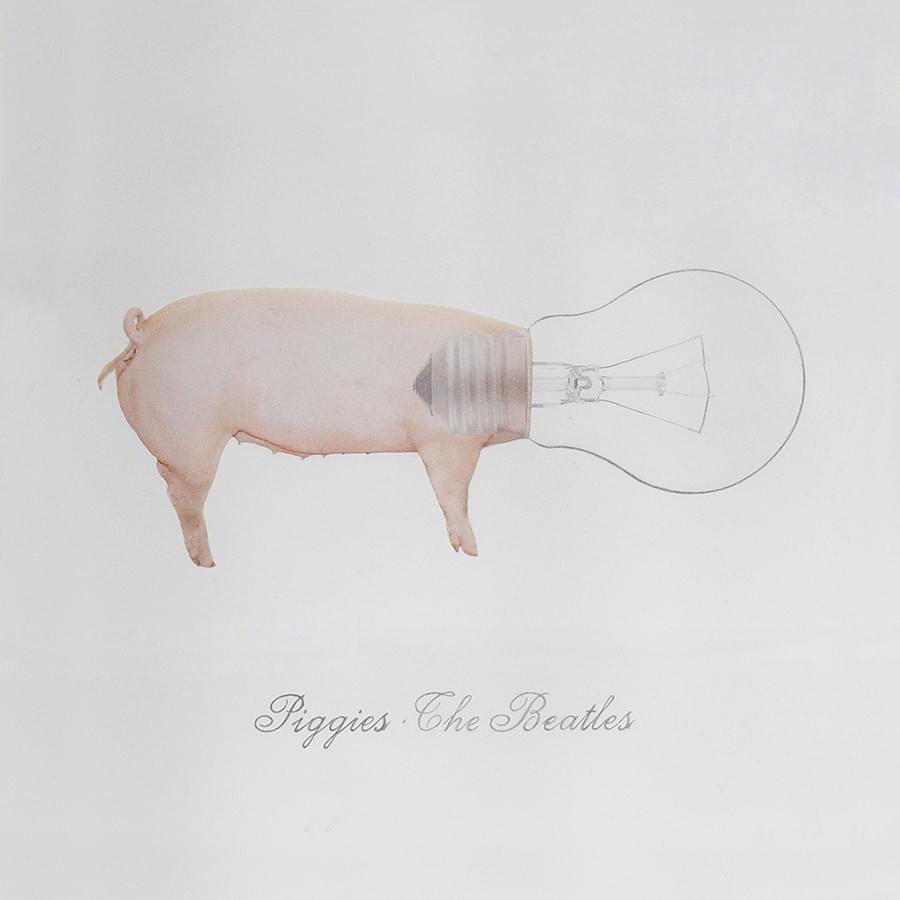 """MIGUEL ÁNGEL FÚNEZ: """"Piggies"""". The Beatles. Collage y lápiz de color sobre papel. 18 x 18 cm. 2015."""
