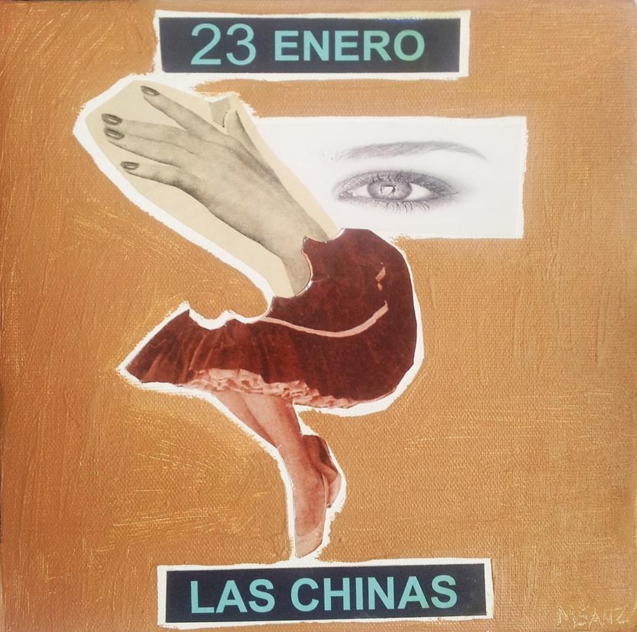 """MILUCA SANZ. """"23 de enero"""" Las Chinas. Collage y encáustica. 18 x 18 cm. 2015."""