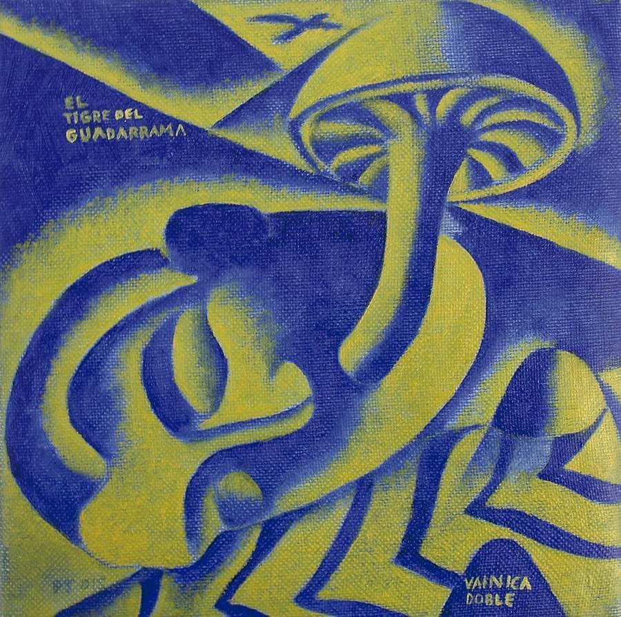 """PACO DE LA TORRE. """"El Tigre de Guadarrama"""". Vainica Doble. Óleo sobre lienzo. 18 x 18 cm. 2015"""