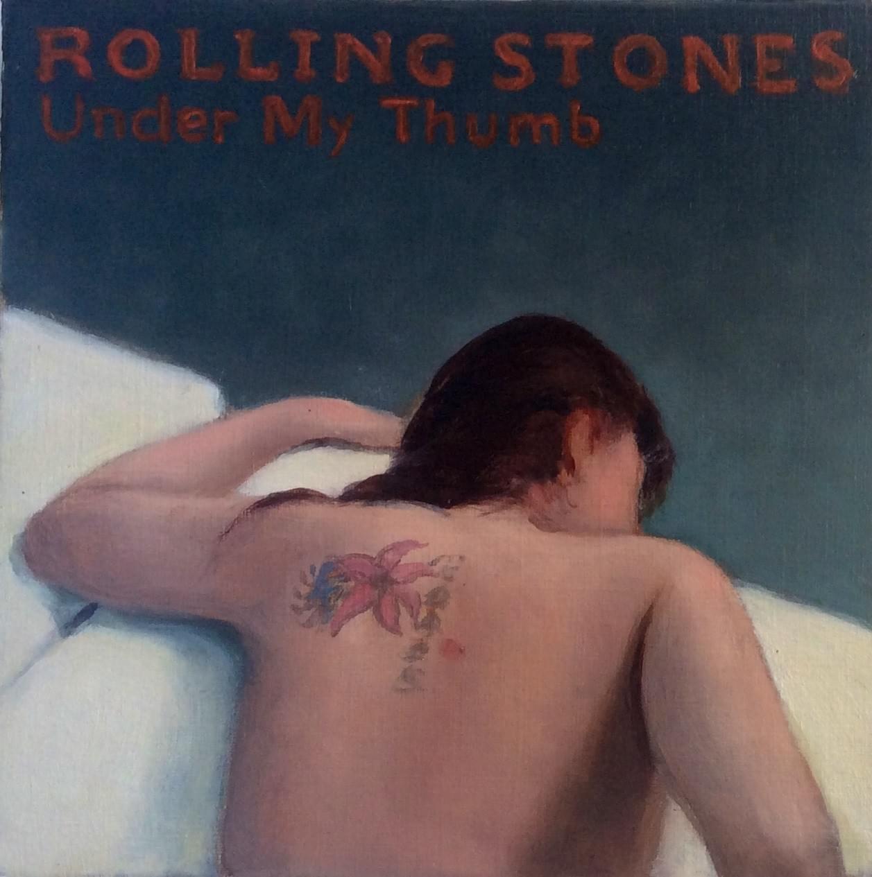 SC451 Under my Thumb. Rolling Stones Óleo sobre papel 18 x 18 cm. 2015