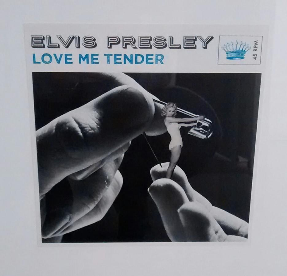 "SEAN MACKAOUI. ""Love me Tender"". Elvis Presley. Collage. 18 x 18 cm. 2014."