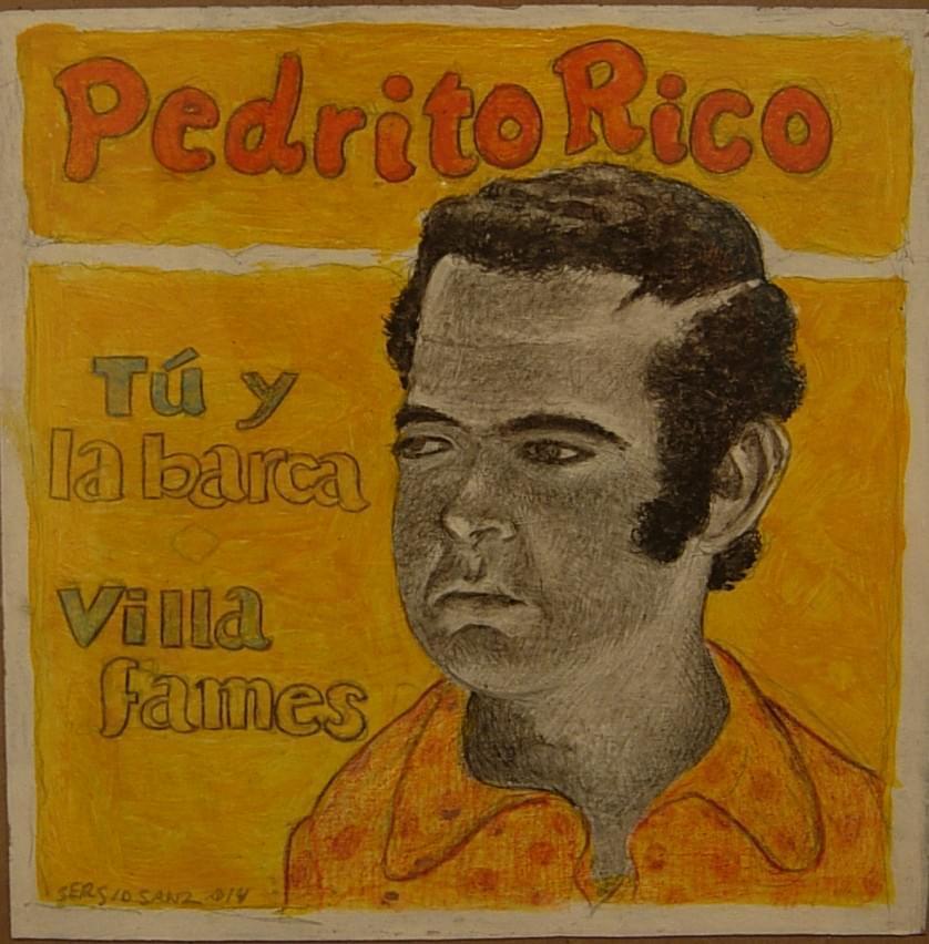 """SERGIO SANZ. """"Tú y la barca"""". Pedrito Rico. Lápiz sobre papel. 18,5 x 18,5 cm. 2015."""