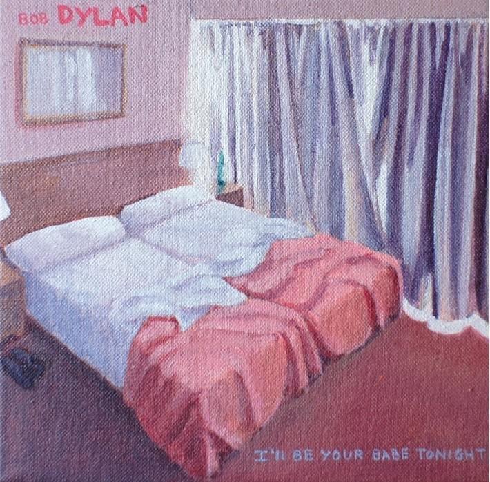 "TERESA MORO. ""I'll be your baby tonight"". Bob Dylan. Acrílico sobre lienzo. 18 x 18 cm."