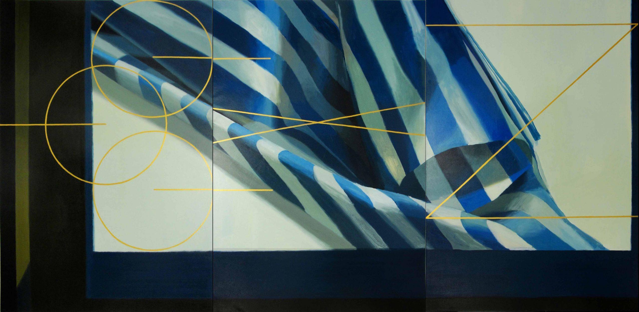 01-TRES EN UNO (un despiece del azar) 195 x 390 cm. (Tríptico) Pigmento y látex sobre loneta 2017