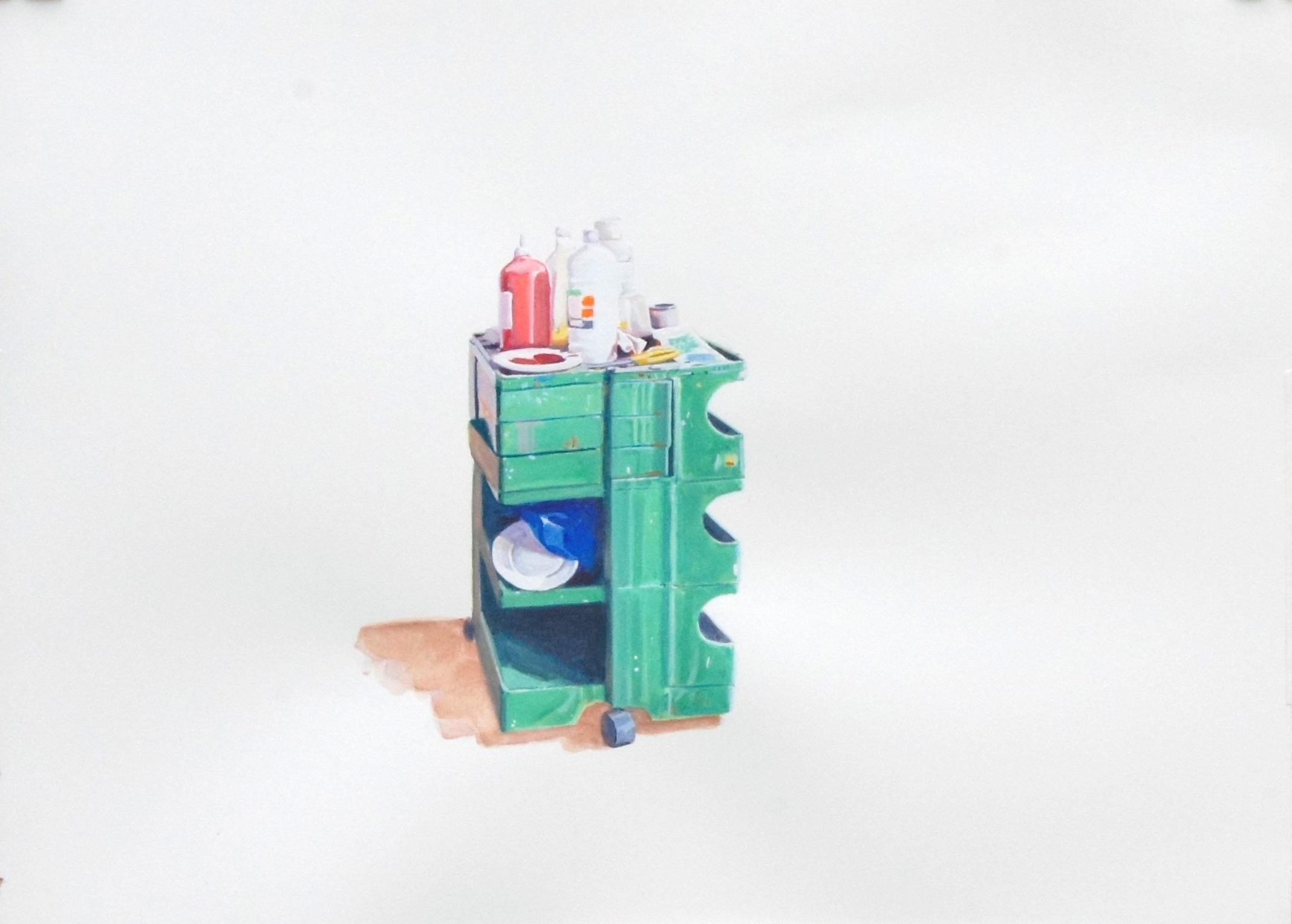 TM321. Patricia Mateo. Carrito. 2019. Gouache sobre papel. 28,50 x 38,50 cm