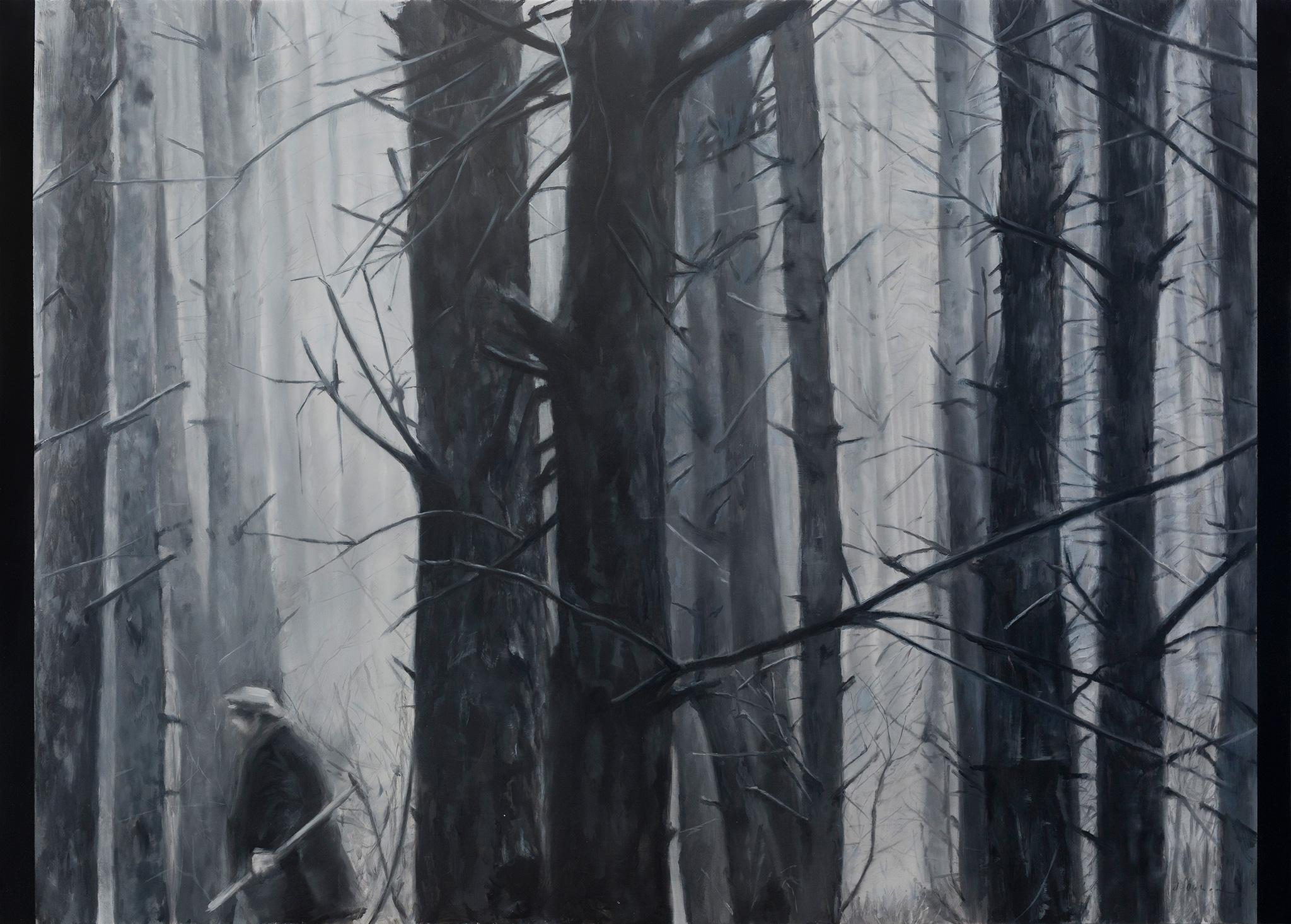 Between tones of gray III Óleo sobre poliéster 50 x 70 cm 2019