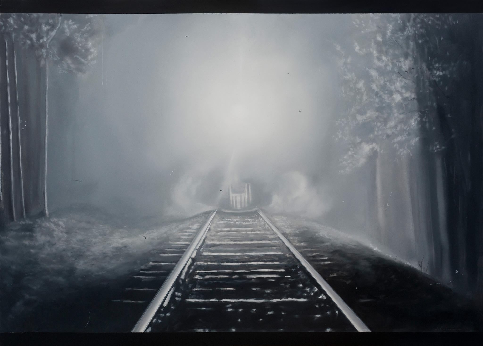Between tones of gray VI Óleo sobre poliéster 50 x 70 cm 2019