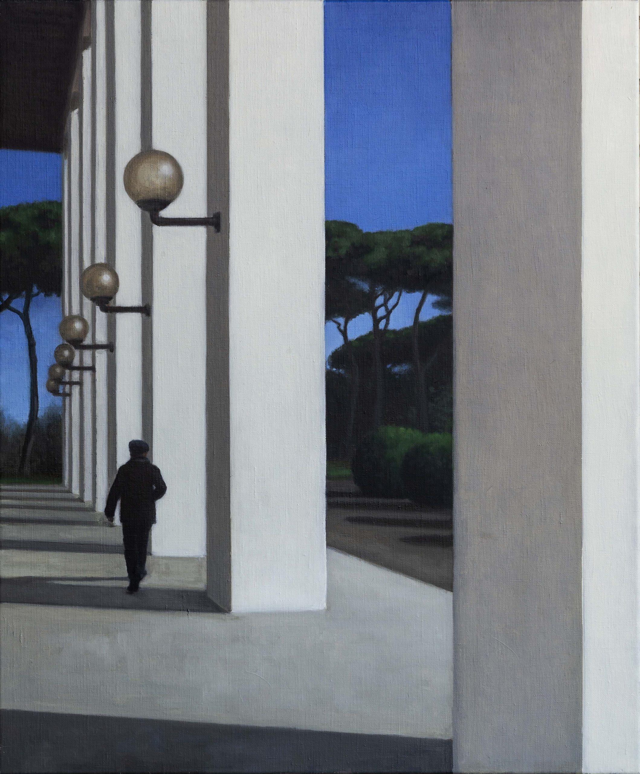 F-07 Historiador del arte en el EUR Óleo sobre lienzo 73 x 60 cm 2020