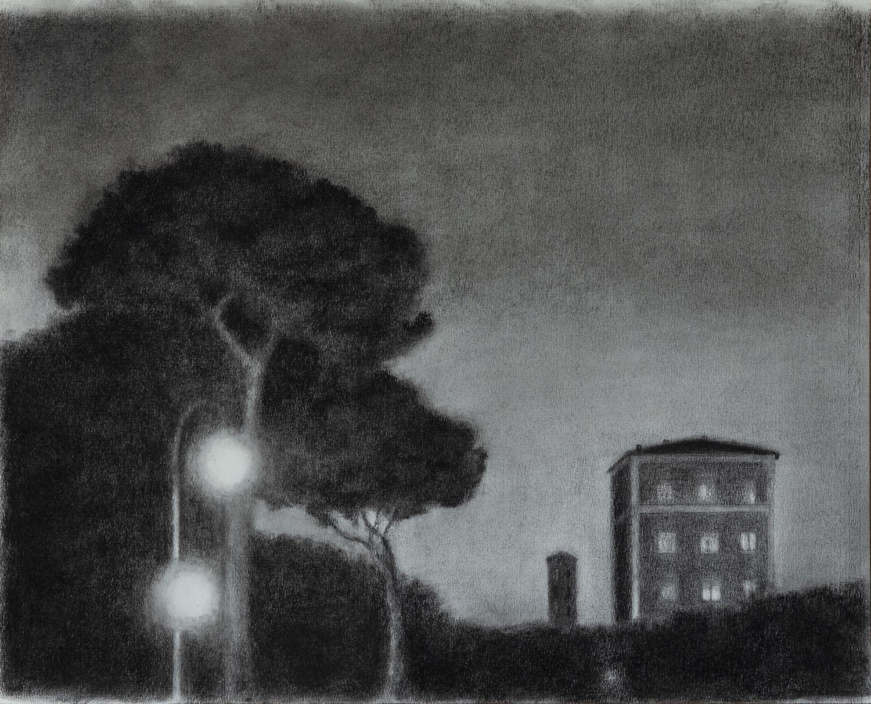 f-34 Noche intemporal Lápiz conté sobre papel 40 x 50 cm 2020