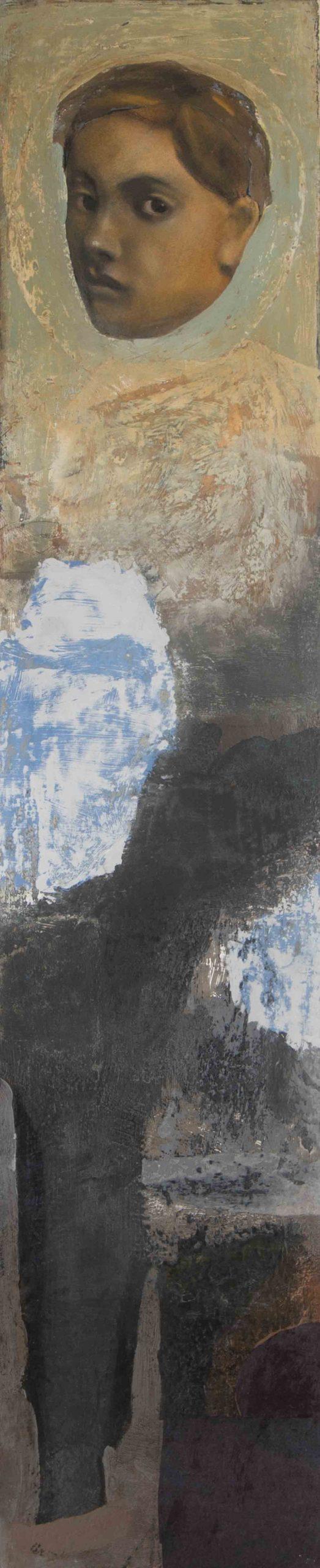 PÑ013Icono II Técnica mixta sobre tabla 100 x 21 cm 2020