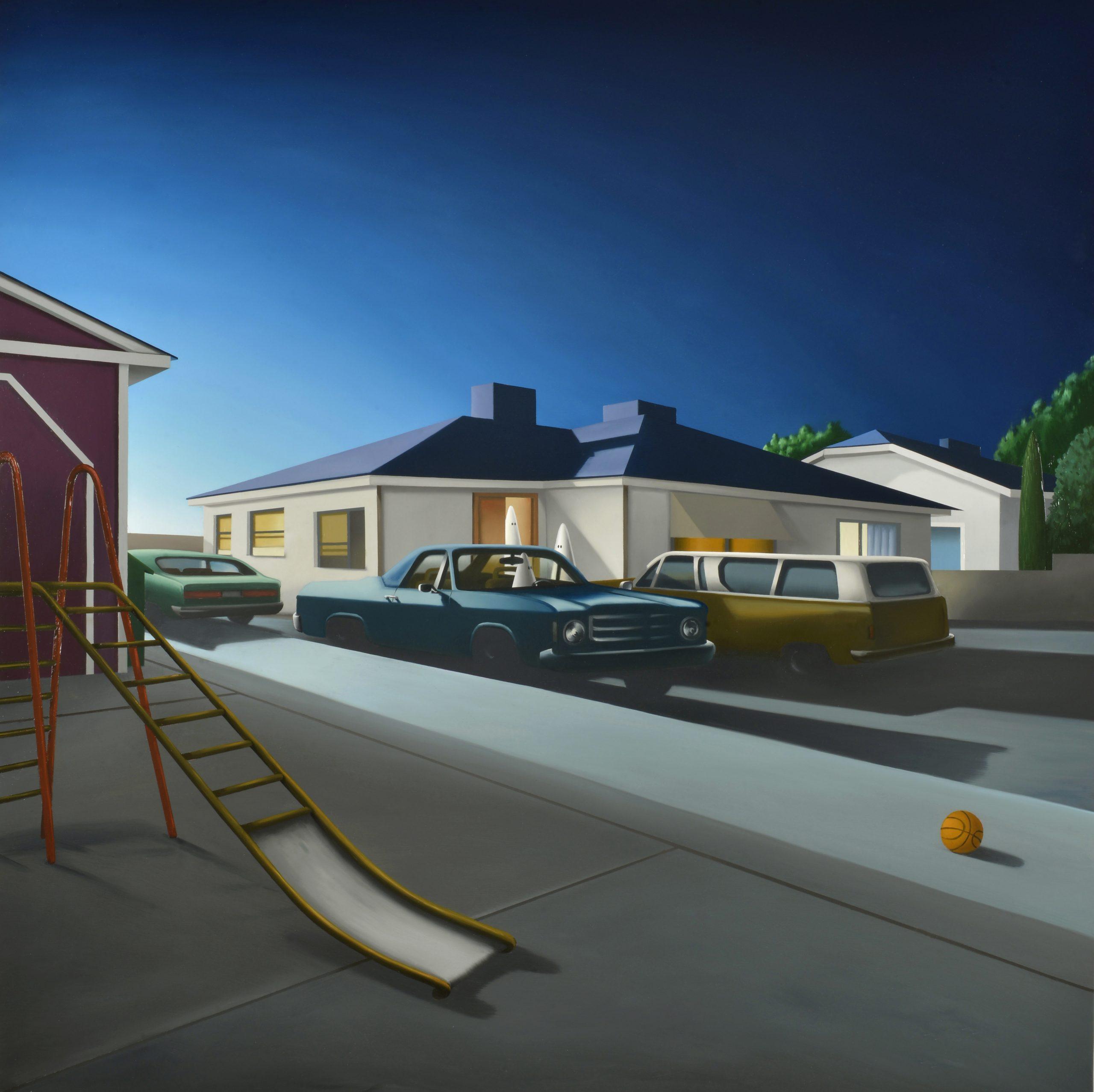 CU382 Small town 130x130 óleo sobre lienzo 2019