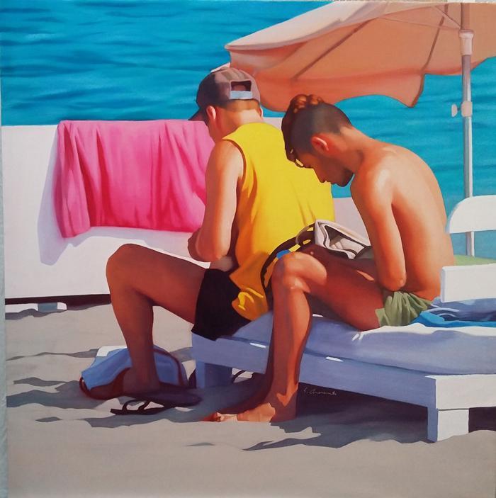 JMC49. Chicos en tumbona. Óleo sobre lienzo. 92 x 73cm. 2016