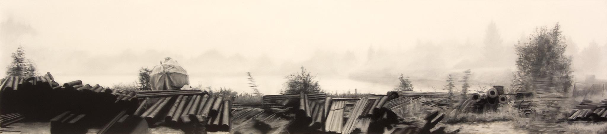Railroad II Óleo sobre poliéster 40 x 180 cm 2019